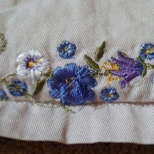 Sonoma Dresses - Khaki jumper with embroidered flowers size 6